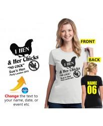 "Hen night ""Chicks No Cock"" personalised t shirt"