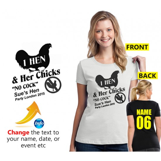 "Hen night ""Chicks No Cock"" personalised t shirt"