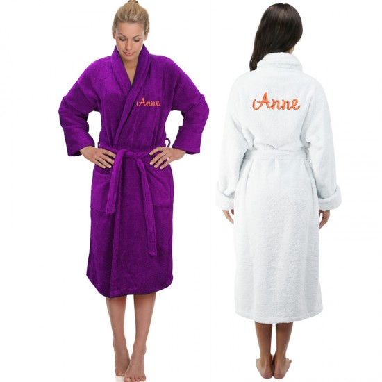 A Back and Front Custom Font TEXT Embroidery Bathrobe