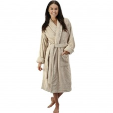 Beige Luxury Velour Cotton Sustainable Ecological Organic Bathrobe