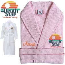 A Summer Camp with Custom TEXT Embroidery on WAFFLE bathrobe