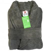 A Charcoal Grey Luxury Velour Cotton Sustainable Ecological Organic Bathrobe