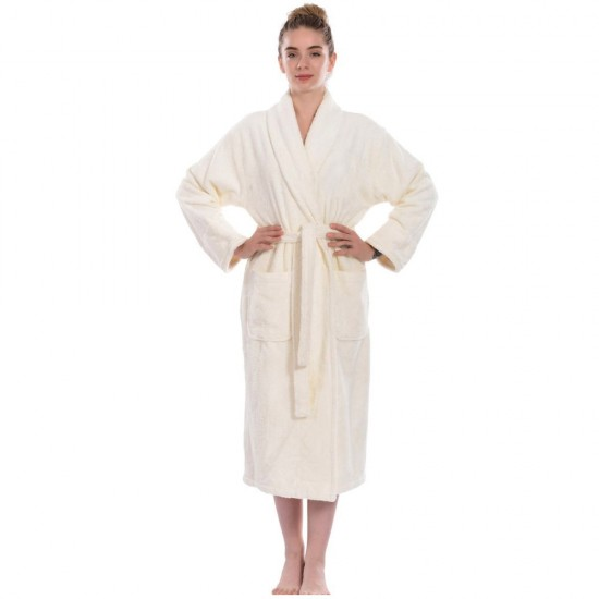Ivory Cream Luxury Velour Cotton Sustainable Ecological Organic Bathrobe