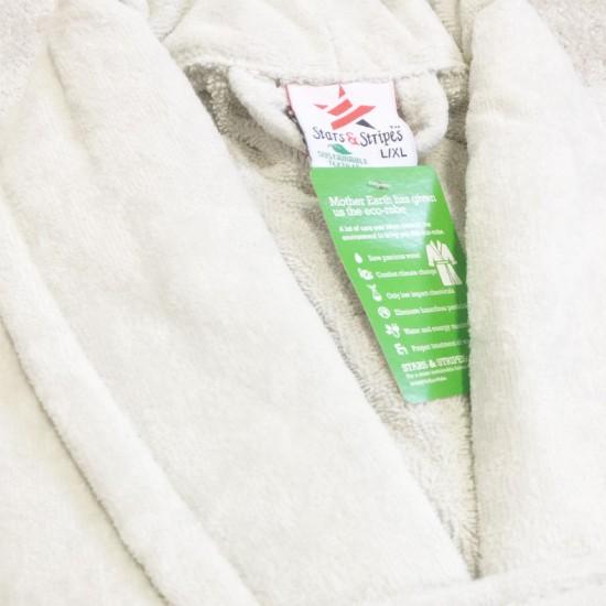 Ivory Cream Luxury Velour Cotton Sustainable Ecological Organic Bathrobe