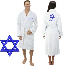 A Star of David Logo Custom Text Embroidery on Bathrobe