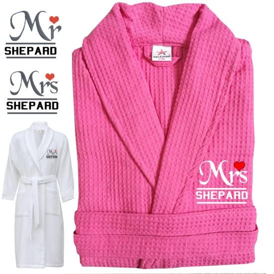A Mrs & Mrs Heart with Custom TEXT Embroidery on WAFFLE Wedding bathrobe
