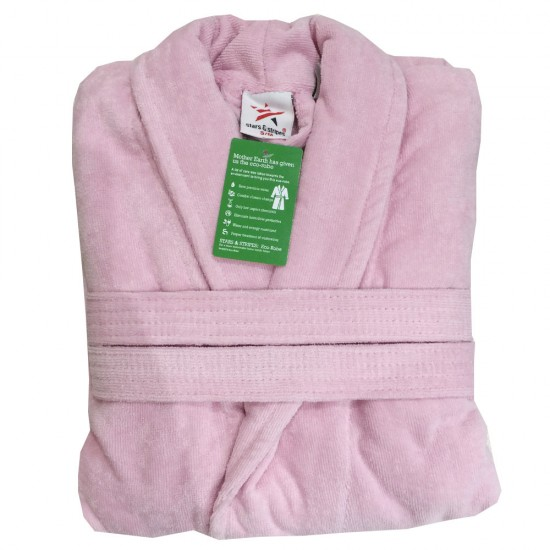 Light Pink Luxury Velour Cotton Sustainable Ecological Organic Bathrobe