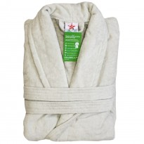 A Silver Grey Luxury Velour Cotton Sustainable Ecological Organic Bathrobe