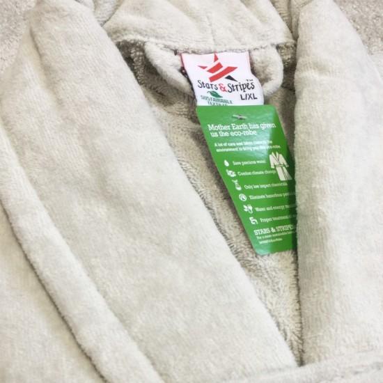A Silver Grey Luxury Velour Cotton Sustainable Ecological Organic Bathrobe