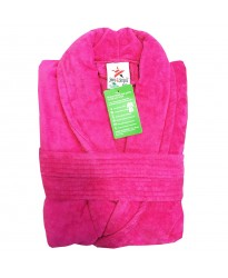 A Fuchsia Luxury Velour Cotton Sustainable Ecological Organic Bathrobe