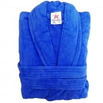Royal Blue Luxury Velour Cotton Sustainable Ecological Organic Bathrobe