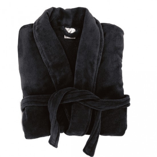 0e885f2dd2 Cotton Terry Black Robe