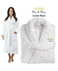 Deluxe Terry cotton with Always Mr & Mrs CUSTOM TEXT Embroidery bathrobe