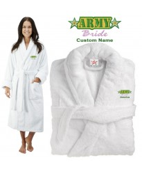 Deluxe Terry cotton with ARMY BRIDE CUSTOM TEXT Embroidery bathrobe
