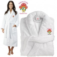 Deluxe Terry cotton with Autumn Bride CUSTOM TEXT Embroidery bathrobe