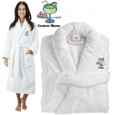 Deluxe Terry cotton with buy the bachelorette a cocktail CUSTOM TEXT Embroidery bathrobe