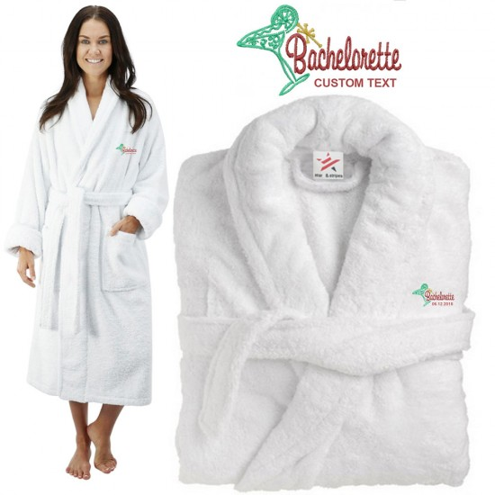 Deluxe Terry cotton with Bachelorette Cocktail CUSTOM TEXT Embroidery bathrobe