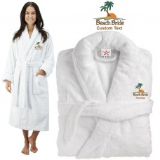 Deluxe Terry cotton with Beach Bride Palm Trees TEXT Embroidery bathrobe