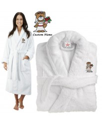 Deluxe Terry cotton with cute bear bride CUSTOM TEXT Embroidery bathrobe