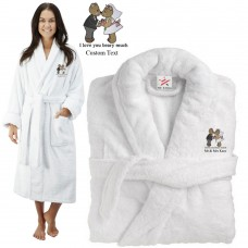 Deluxe Terry cotton with i love you beary much CUSTOM TEXT Embroidery bathrobe
