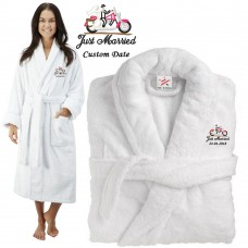 Deluxe Terry cotton with Just Married Bride & Groom on Bike CUSTOM TEXT Embroidery bathrobe