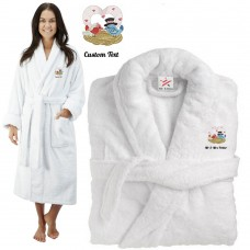 Deluxe Terry cotton with love birds heart CUSTOM TEXT Embroidery bathrobe