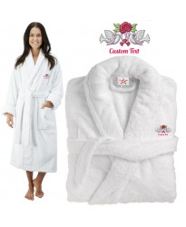 Deluxe Terry cotton with Cute love birds CUSTOM TEXT Embroidery bathrobe