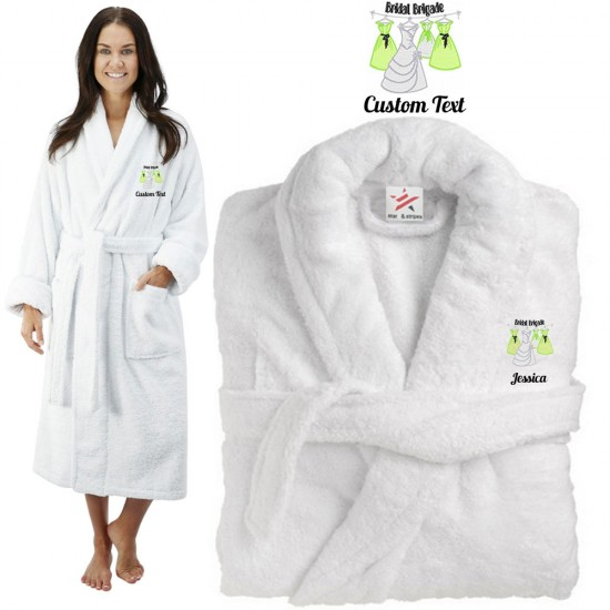 Deluxe Terry cotton with bridal brigade CUSTOM TEXT Embroidery bathrobe