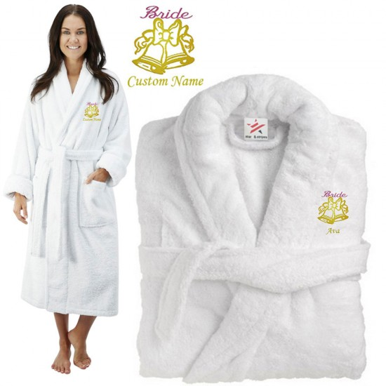 Deluxe Terry cotton with bride bells design CUSTOM TEXT Embroidery bathrobe