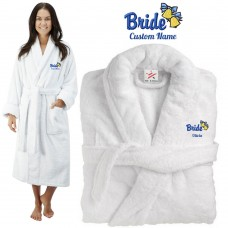 Deluxe Terry cotton with bride bells and bow design CUSTOM TEXT Embroidery bathrobe