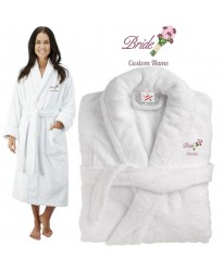 Deluxe Terry cotton with bride flower bouquet CUSTOM TEXT Embroidery bathrobe