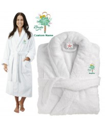 Deluxe Terry cotton with floral bride bouquet CUSTOM TEXT Embroidery bathrobe
