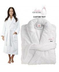 Deluxe Terry cotton with bride for boobs breast cancer CUSTOM TEXT Embroidery bathrobe