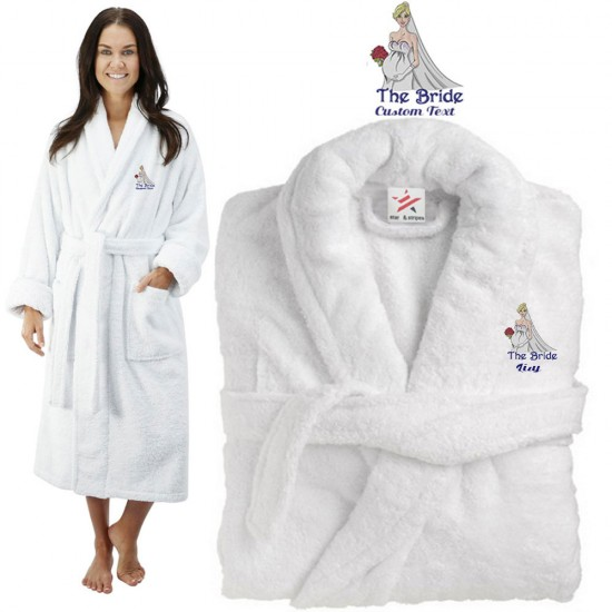 Deluxe Terry cotton with the bride baby bump CUSTOM TEXT Embroidery bathrobe