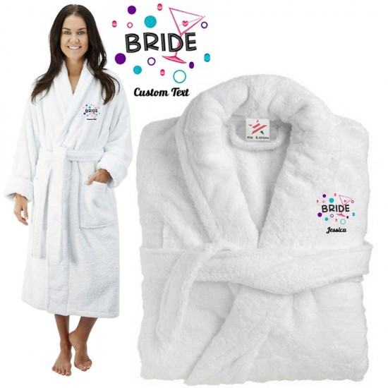 Deluxe Terry cotton with Bride With Cocktail CUSTOM TEXT Embroidery bathrobe