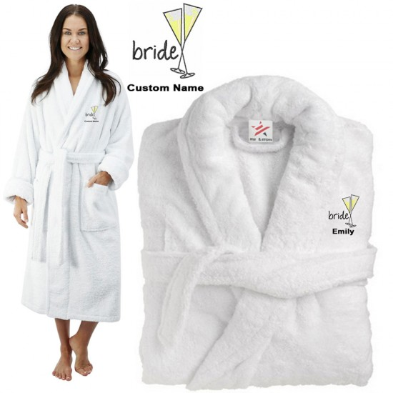 Deluxe Terry cotton with bride with cocktail glasses CUSTOM TEXT Embroidery bathrobe