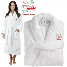 Deluxe Terry cotton with custom month bride CUSTOM TEXT Embroidery bathrobe