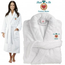 Deluxe Terry cotton with bride diamond heart CUSTOM TEXT Embroidery bathrobe