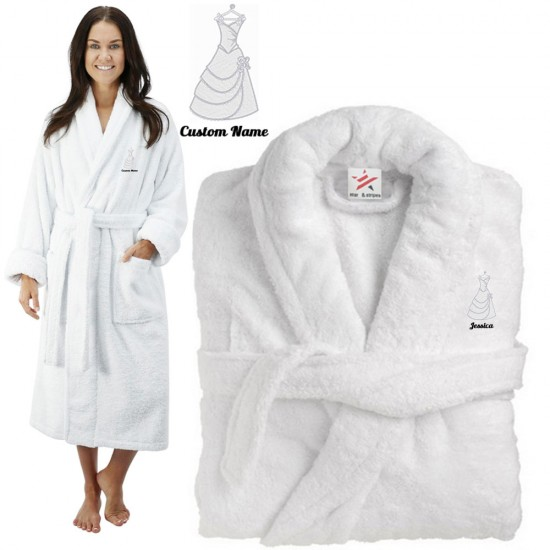 Deluxe Terry cotton with CLASSIC BRIDE GOWN CUSTOM TEXT Embroidery bathrobe