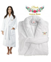 Deluxe Terry cotton with floral bride badge CUSTOM TEXT Embroidery bathrobe