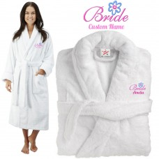 Deluxe Terry cotton with fancy bride flower CUSTOM TEXT Embroidery bathrobe