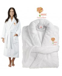 Deluxe Terry cotton with flower bouquet bride CUSTOM TEXT Embroidery bathrobe