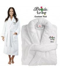 Deluxe Terry cotton with bride to be flower and ring CUSTOM TEXT Embroidery bathrobe