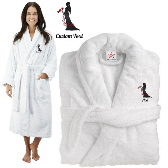 Deluxe Terry cotton with bride holding flowers CUSTOM TEXT Embroidery bathrobe