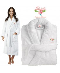 Deluxe Terry cotton with bride fancy flowers CUSTOM TEXT Embroidery bathrobe