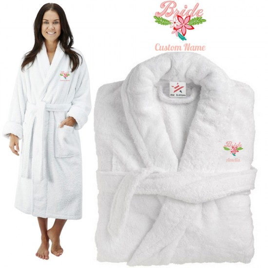 Deluxe Terry cotton with BRIDE WITH FLOWERS CUSTOM TEXT Embroidery bathrobe