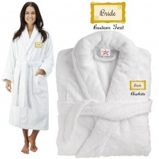 Deluxe Terry cotton with bride frame CUSTOM TEXT Embroidery bathrobe