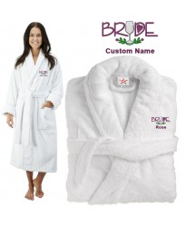 Deluxe Terry cotton with bride with glass CUSTOM TEXT Embroidery bathrobe