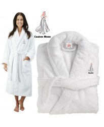 Deluxe Terry cotton with elegant bride gown CUSTOM TEXT Embroidery bathrobe