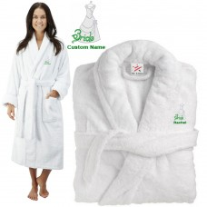 Deluxe Terry cotton with classy bride gown CUSTOM TEXT Embroidery bathrobe